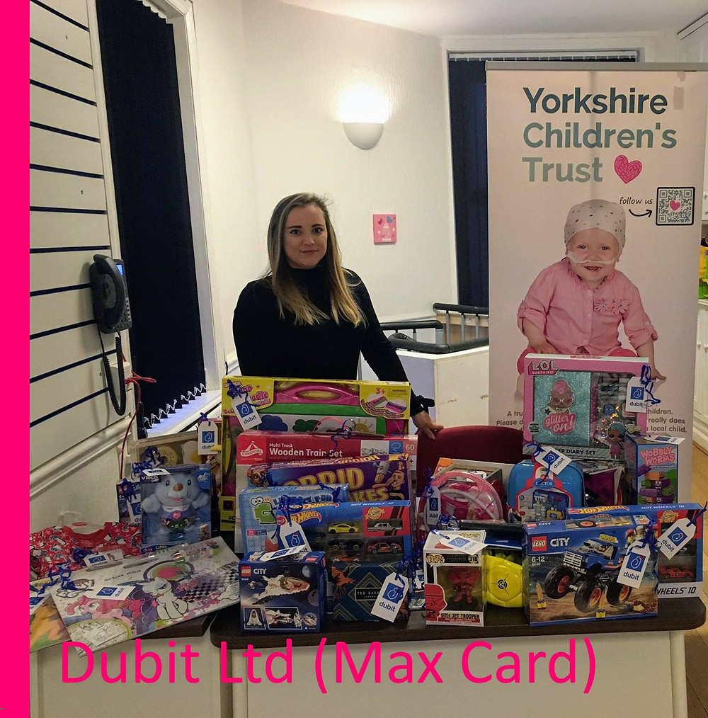 Dubit Ltd - Max Card donate to Yorkshire Children's Trust This Christmas time