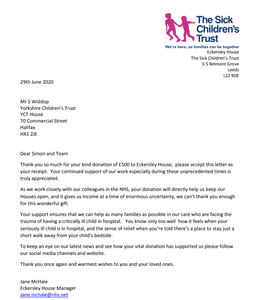 Eckersley House, Sick Children's Trust donation for cleaning products from Yorkshire Childrens Trust