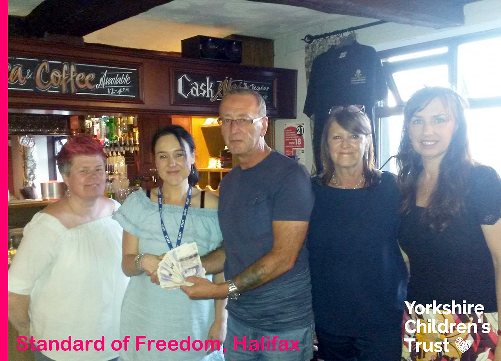 Michael Whitaker at The Standard of Freedom Pub in Halifax have donated £500 to Yorkshire Children's Trust, a local charity, helping local children.