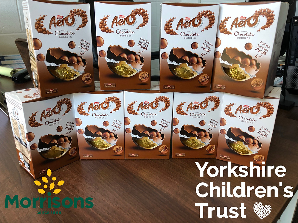 Morrisons in Elland donating Eggs to the Yorkshire Children's Trust Easter appeal.