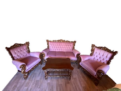 Set canapea,fotolii si masuta living din lemn masiv