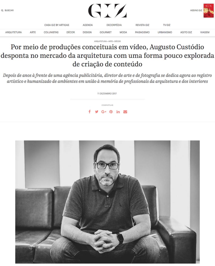 Revista GIZ: As produções conceituais em vídeo de Augusto Custodio para o mercado de Arquitetura bra