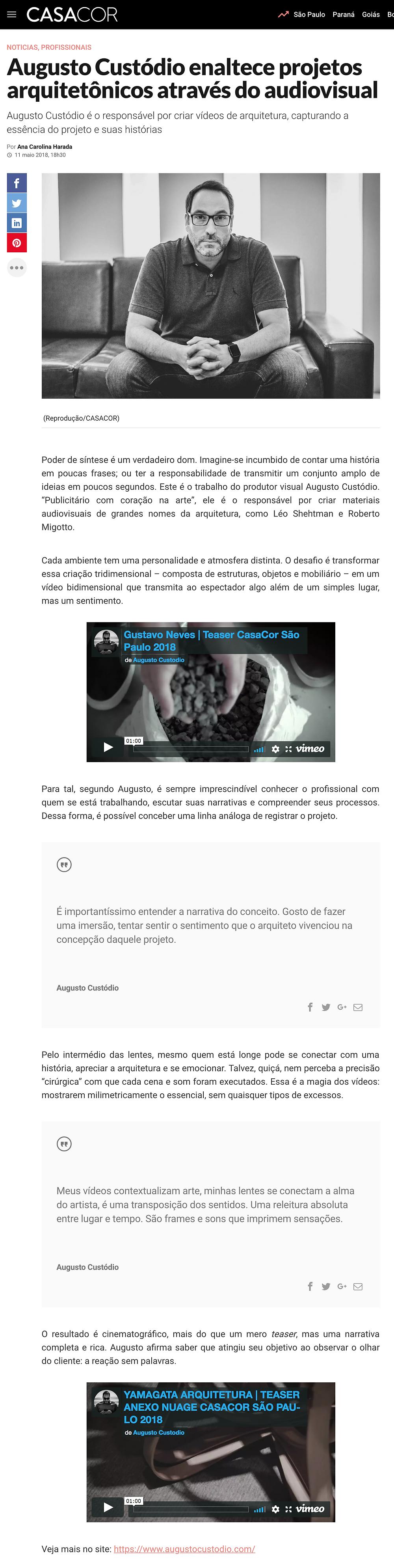 Augusto Custodio matéria revista CasaCor maio de 2018.