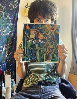 Dillon Salvi with cover art for his EP The Woods