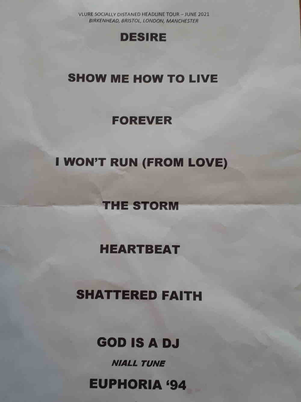 Set list for Vlure gig in YES Manchester