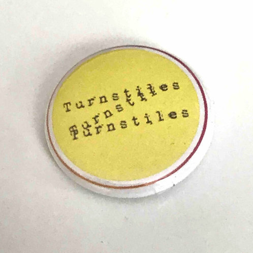 Turnstiles text badge. Free shipping in Europe