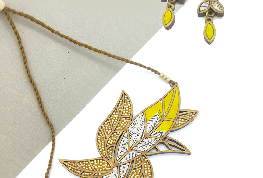Bloom Leaf Motif Repurposed Fabric and Wood Yellow Necklace and Earring