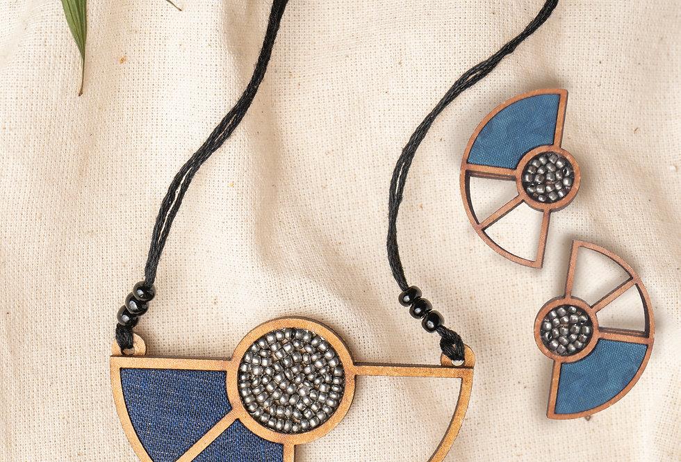 Set of Blue Geometrical Repurposed Wood Necklace & Earring