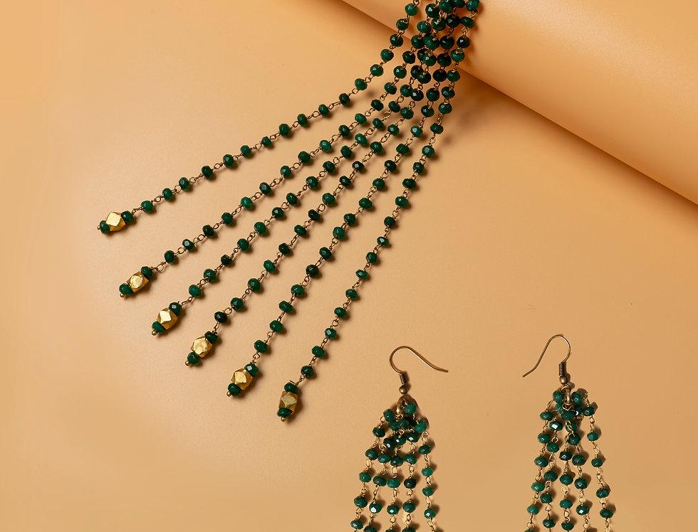 Set of Green Semiprecious Gemstone Necklace & Brass Earring