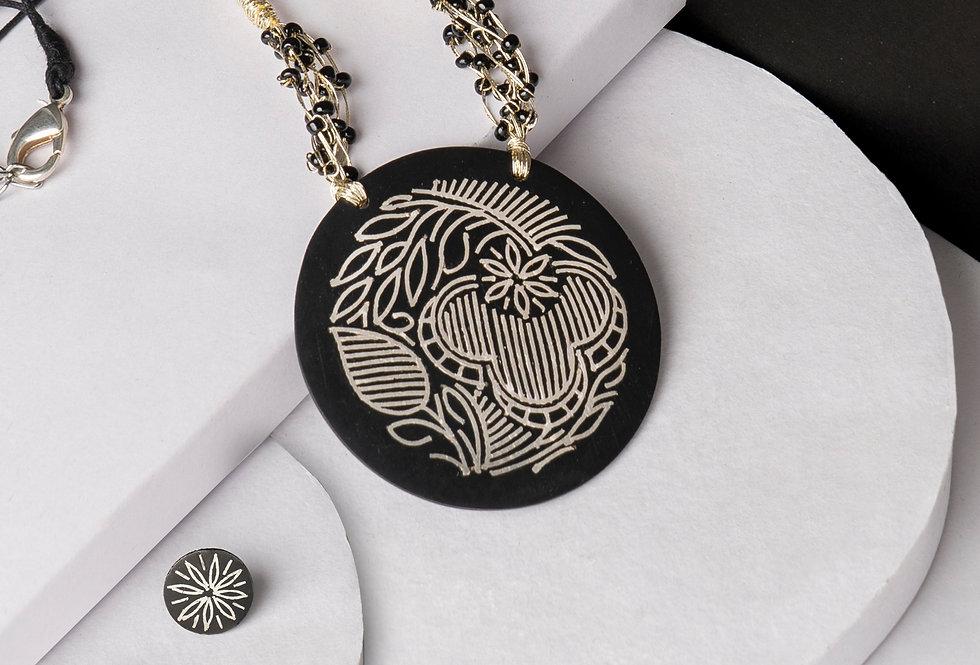 Set of Handmade Bidri Silver Pendant Necklace & Round Stud