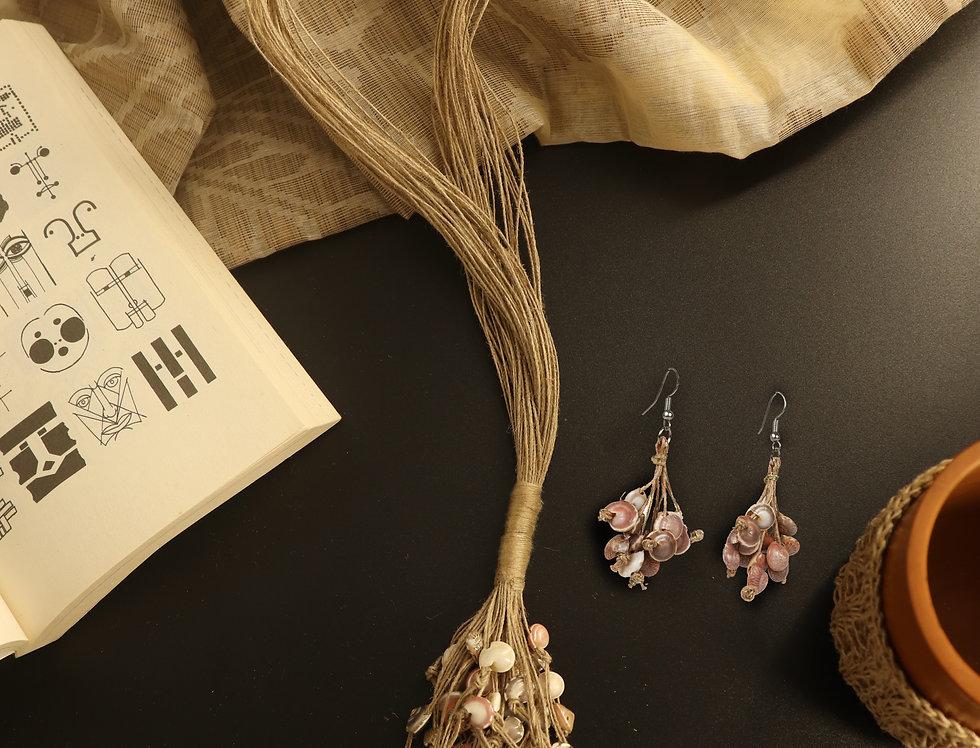 Set of Jute & Sea Shell Necklace & Earrings