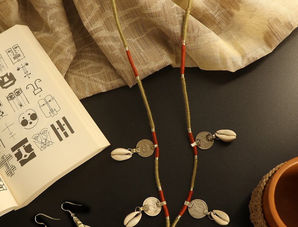 Set of Repurposed Metal & Cowry Necklace and Coin & Cowry Shell Dangler