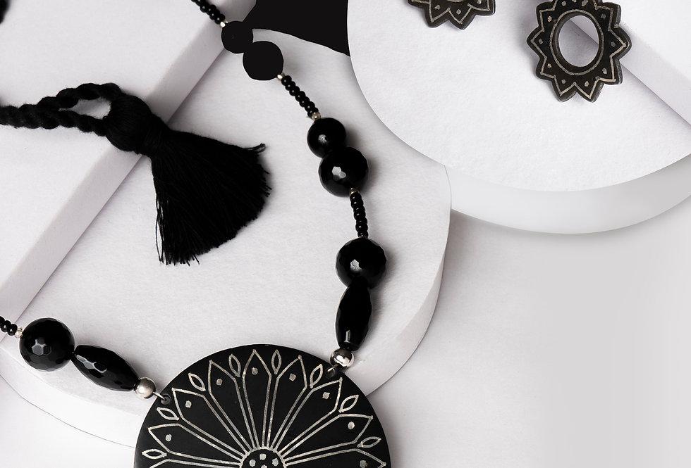 Set of Handmade Bidri Silver Agate Necklace & Flower Dangler