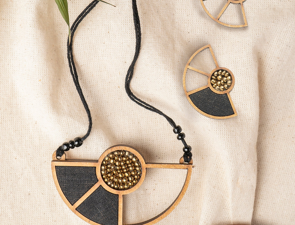 Set of Black Geometrical Repurposed Wood Necklace & Earring