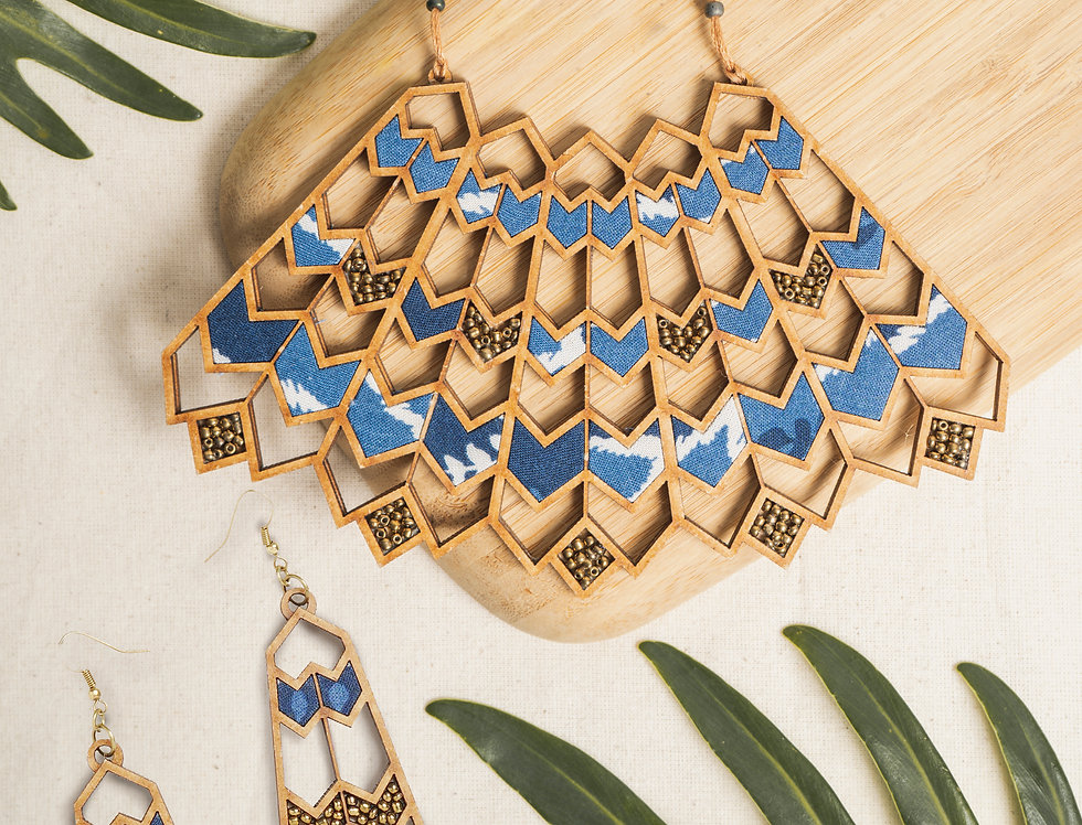 Set of Wave Pattern Upcycled Triangular Necklace & Earring