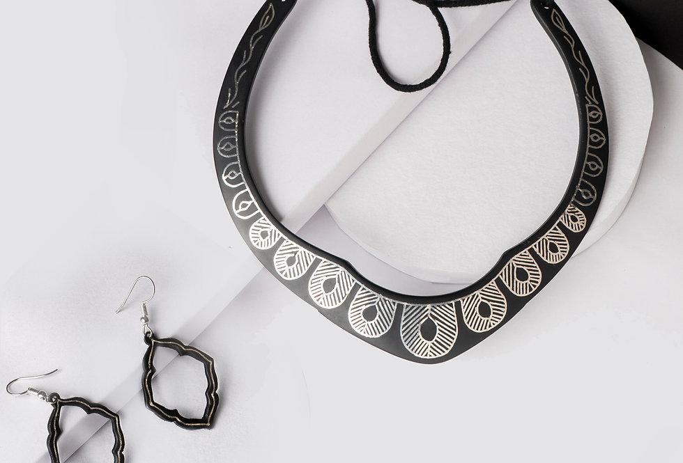 Set of Handmade Bidri Silver Choker Necklace & Mughal Danglers