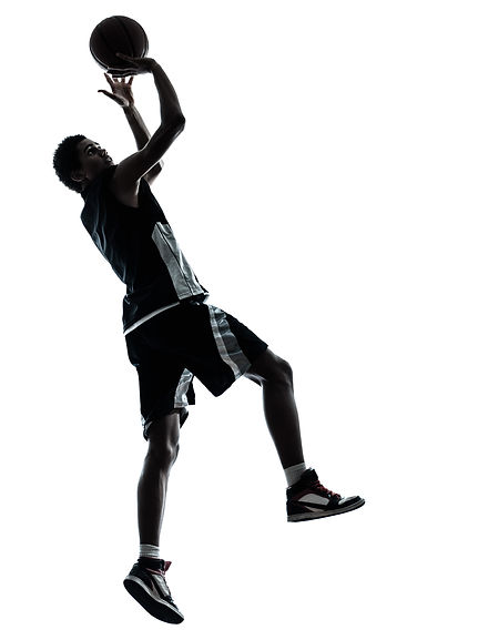 one young man basketball player silhouet