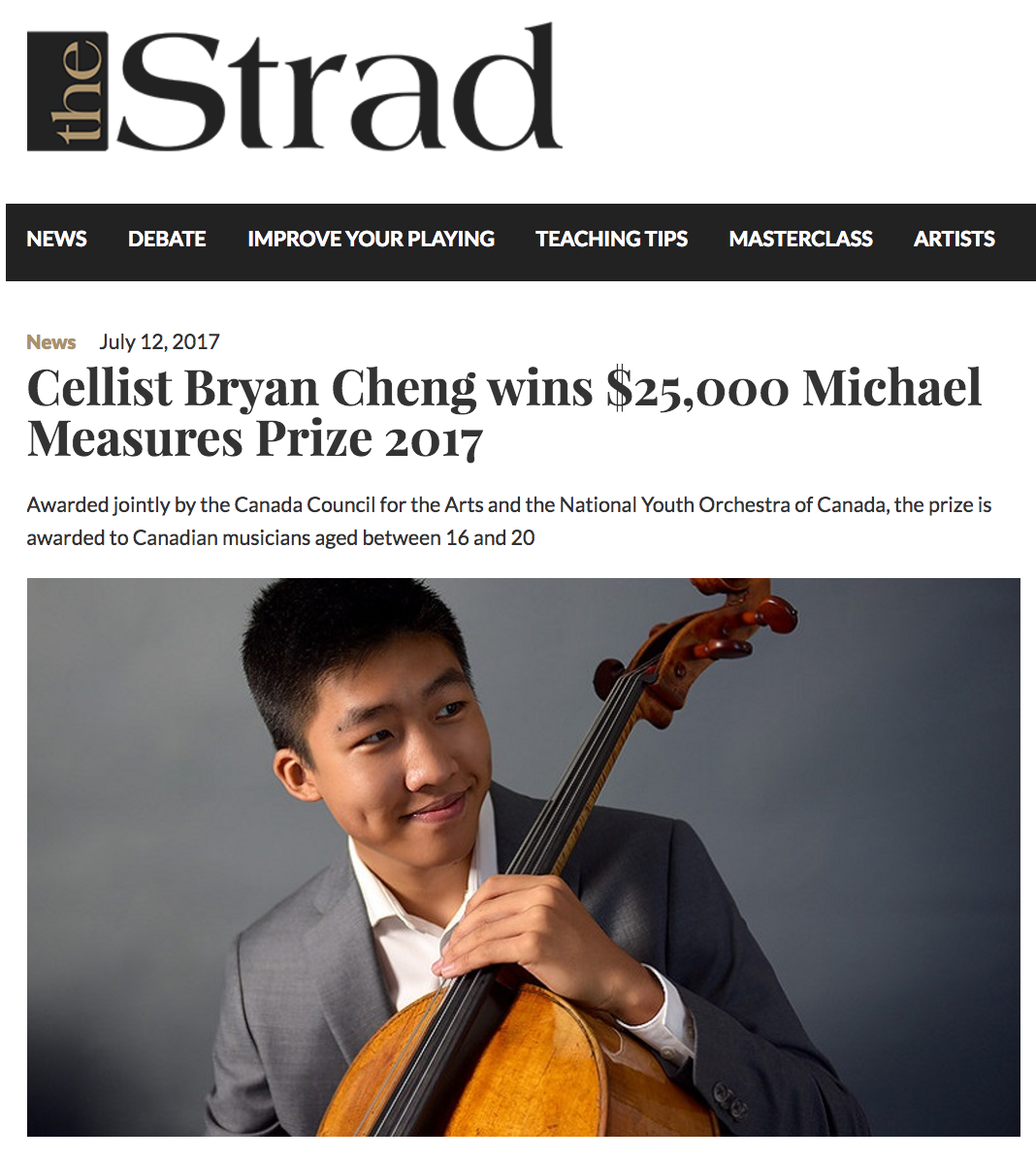 Cellist wins Michael Measures Prize