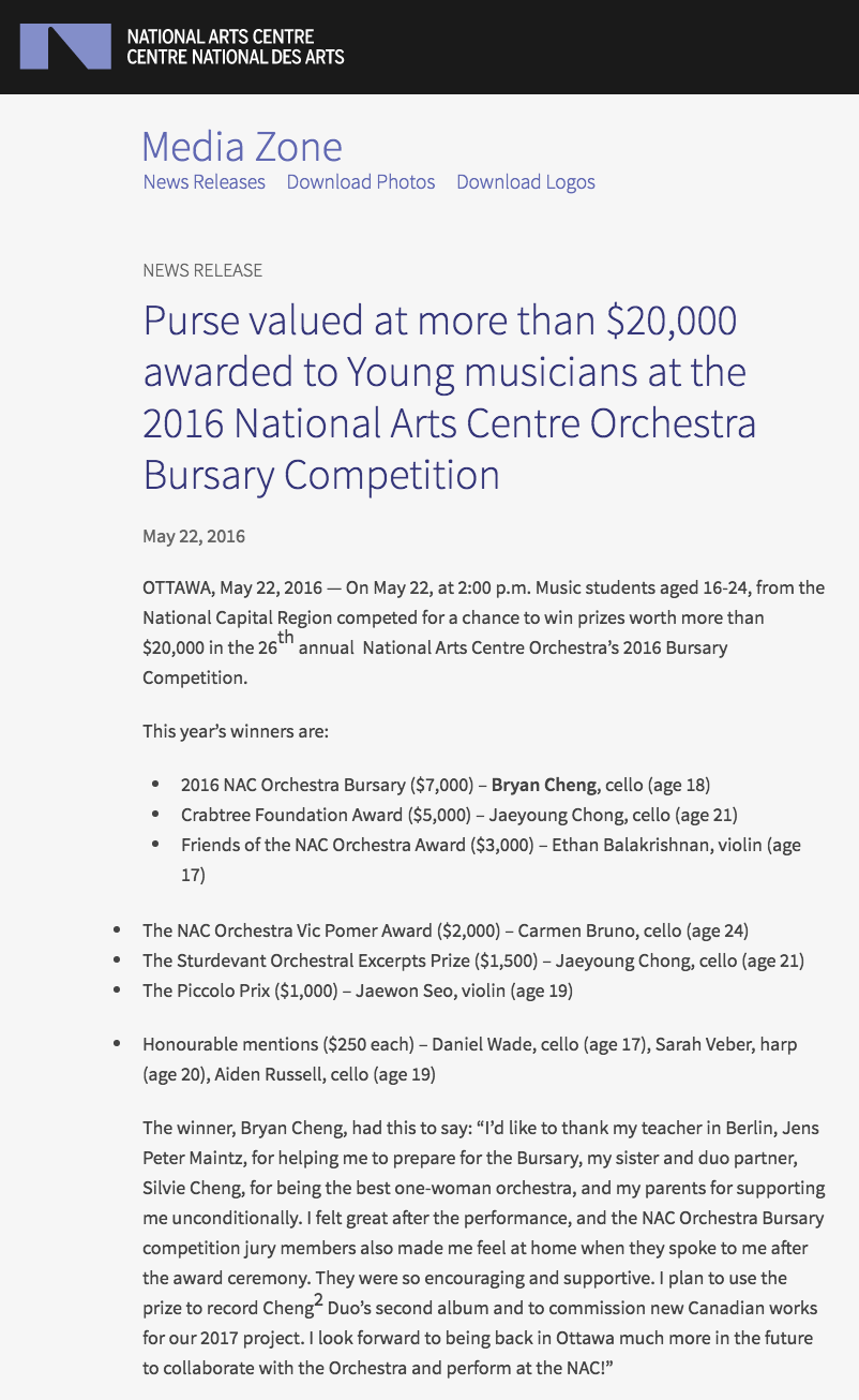2016 NACO Bursary Competition