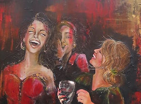 Girls, laughing, party, 1980's, red dress, friends, three girls, clubs, pubs, whispering, secret, happy, mouth open laughing, dark haired girl laughs, green dress, painting of three friends
