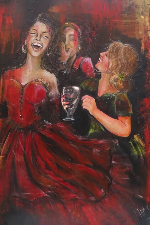 Three girls/women enjoying each others company.  One is whispering a shared secret.  Dressed up in beautiful red and green dresses.  Large canvas, original print, Art prints are available.