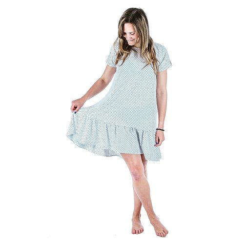 Bambulich šaty ROZALIE bílý puntík
