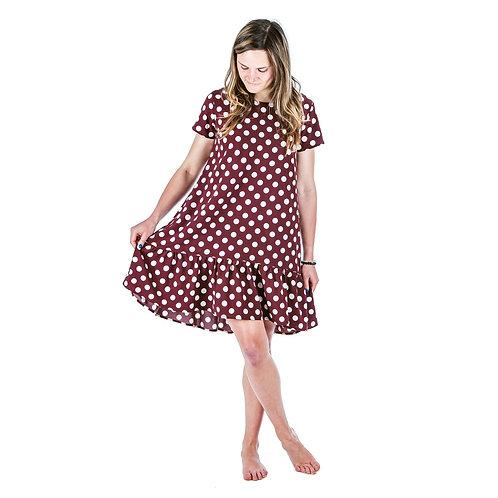Bambulich šaty ROZALIE bordó puntík