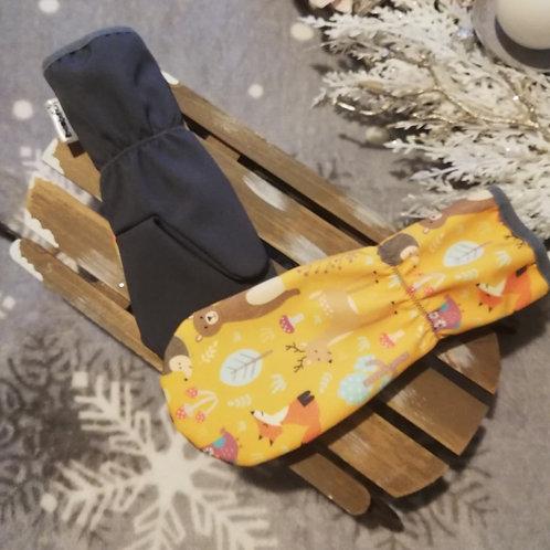 Bambulich softshellové rukavice OKROVÁ ZVÍŘÁTKA