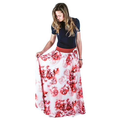 Bambulich letní MAXI sukně cihlové květy