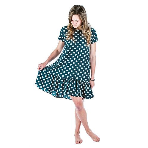 Bambulich šaty ROZALIE zelený puntík