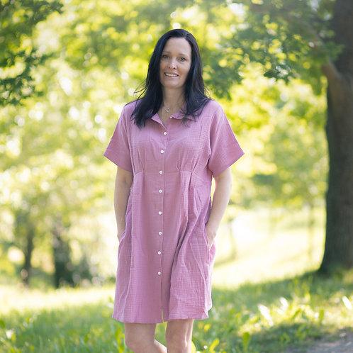 Bambulich mušelínové šaty růžové