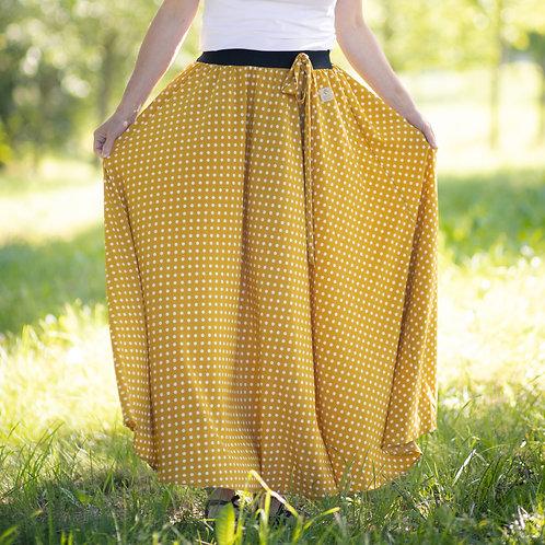 Bambulich letní MAXI sukně okrový puntík