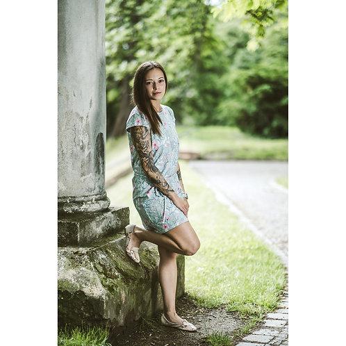 Bambulich šaty AGÁTA růžový kvítek
