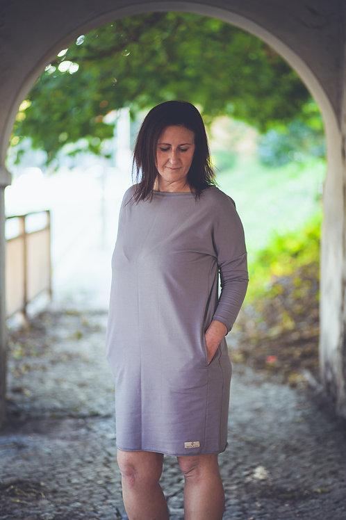 Bambulich podzimní šaty SVĚTLE ŠEDÉ