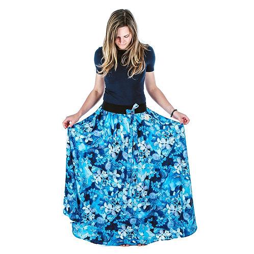 Bambulich letní MAXI sukně modré květy