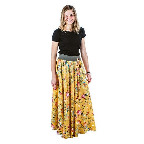 Bambulich letní MAXI sukně okrové květy
