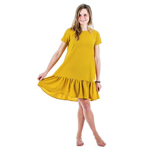 Bambulich šaty ROZALIE okrový puntík