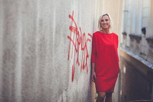 Bambulich podzimní šaty VALENTÝNA červené