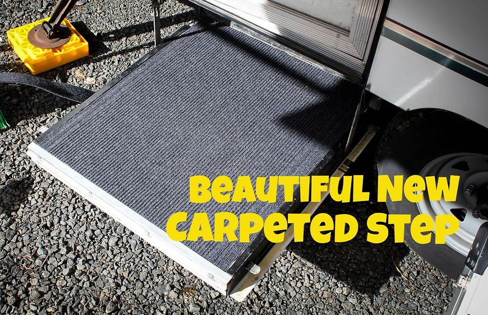 Carpeting the Step to our Pop Up Tent Trailer by JeJe Design