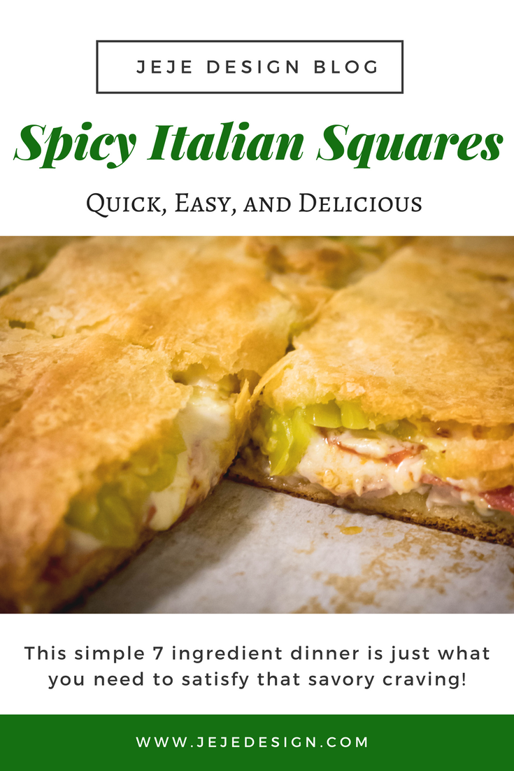 7 Ingredient Dinner- Spicy Italian Squares that are quick, easy and delicious by JeJe Design