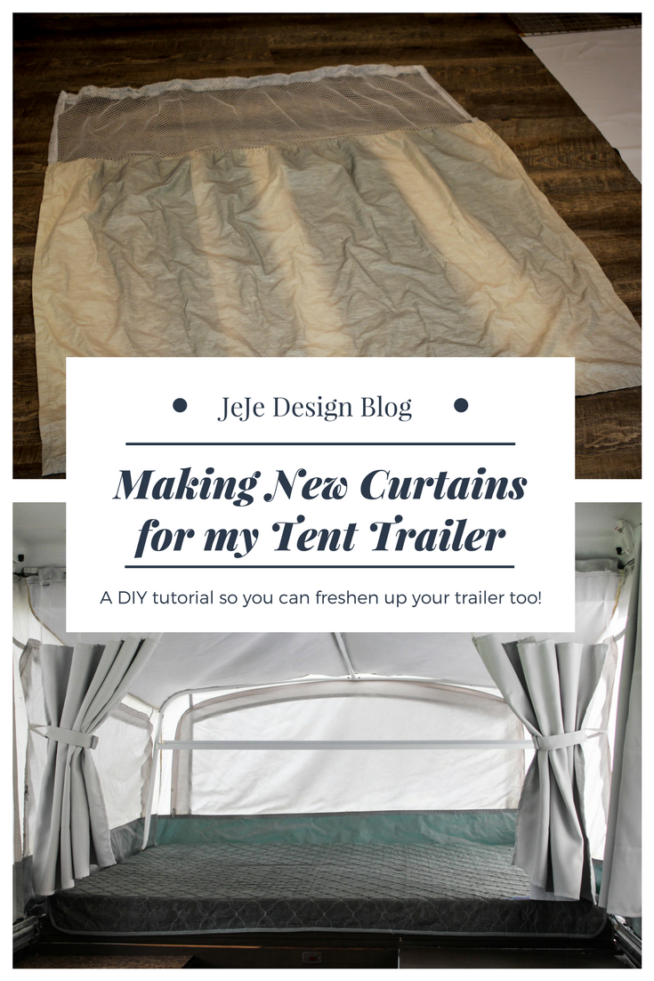 Sewing new curtains for our pop up tent trailer by JeJe Design