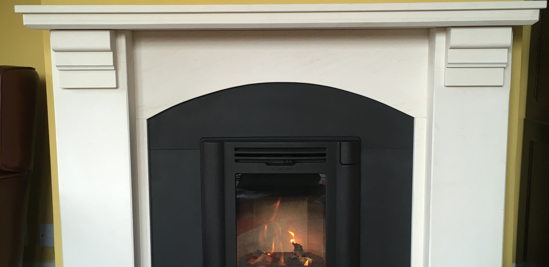 Contura i4 traditional stove and new slate / limestone fireplace