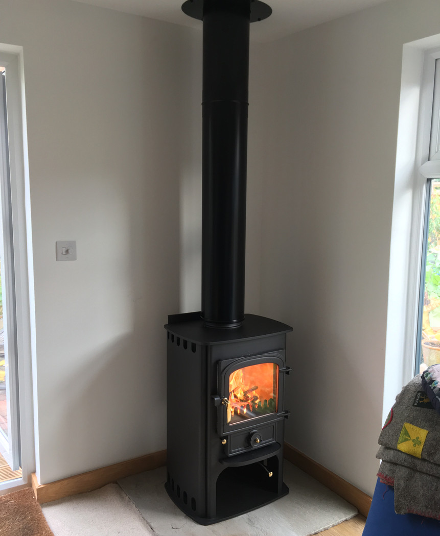 Clearview stove to garden office