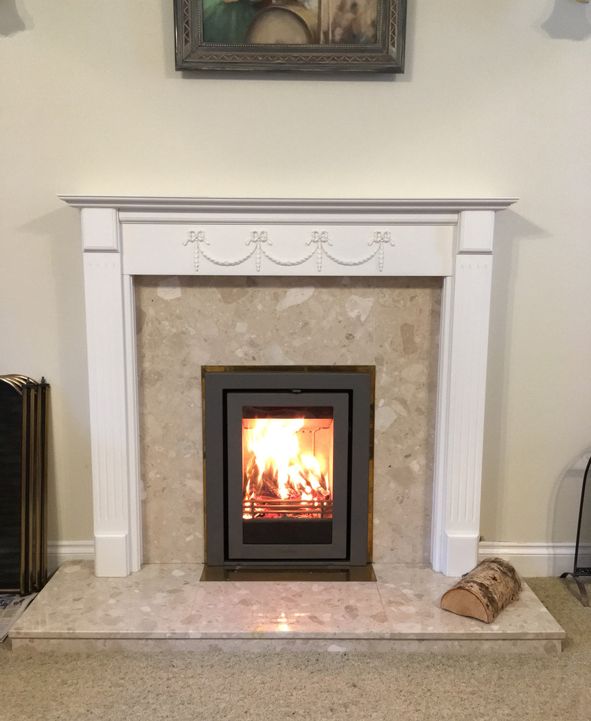 Inset stove to existing fireplace
