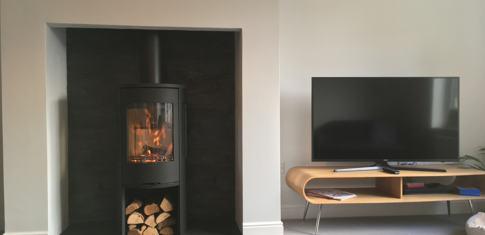 Contura wood burner and redesigned fireplace