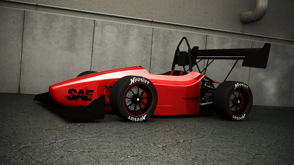 FSAE car red front