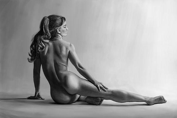 Kvinna i grått målning