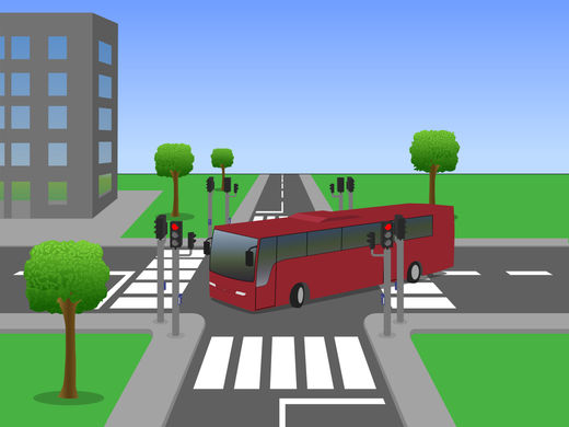 Illustration bus crossing