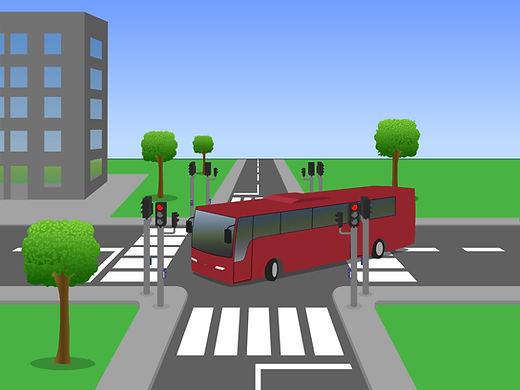 Illustration bus crossing