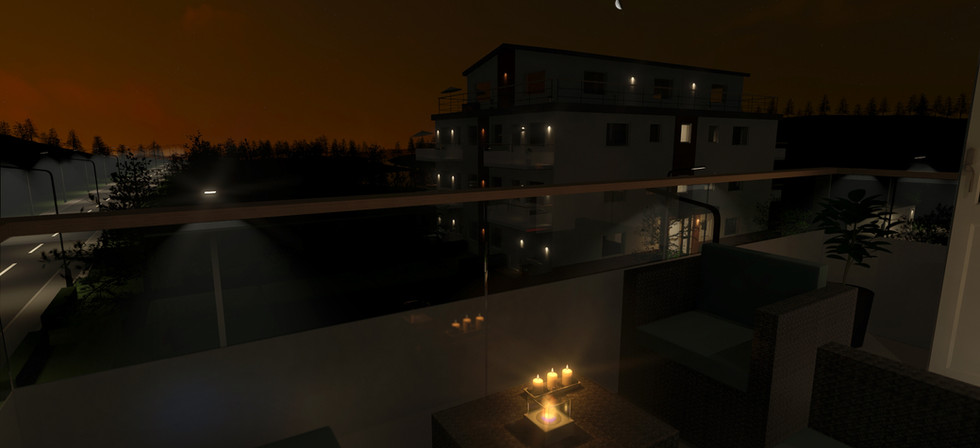 Balkong kvällsvy